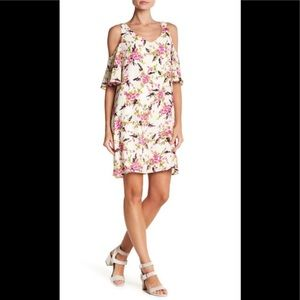 Bobeau • Cold Shoulder Floral Dress •